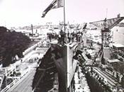 Launching of Australian cruiser HMAS Brisbane at Cockatoo Island naval dockyard, Sydney.