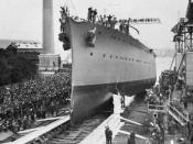 Photograph of launch of Australian cruiser HMAS Adelaide. Launched by Lady Munro Ferguson at Cockatoo Island Dockyard, Sydney.