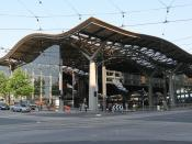 Morning view of Southern Cross Station, Melbourne. From corner of Collins and Spencer Streets.