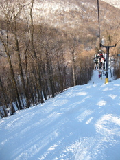 Chair lift over a ski slope at Blue Knob State Park