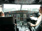 The cockpit of an easyJet Airbus A319 on March 28, 2006 after a landing in Tallinn.