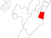Map highlighting Hoboken within Hudson County