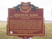 Ohio historical marker for Jonathan Alder, photographed March 12, 2009 by Adolphus79.