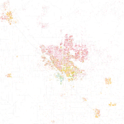 Fisher was astounded by Bill Rankin's map of Chicago's racial and ethnic divides and wanted to see what other cities looked like mapped the same way. To match his map, Red is White, Blue is Black, Green is Asian, Orange is Hispanic, Gray is Other, and eac