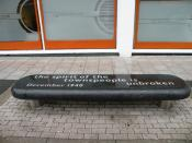 English: The spirit of the townspeople is unbroken One of several of what I take to be artworks in central Southampton - they would be very uncomfortable seats - this is in Waterloo Terrace. Southampton suffered 57 air-raids in WWII, 630 civilian fataliti