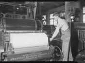 Pickers tonder - first process after cotton came in mill - very little skill required - showing man and machine in action, January 1937