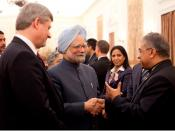 Dr. Aditya Jha, Dr. Manmohan Singh (Indian Prime Minister), Stephen Harper (Canadian Prime Minister) in India 2009
