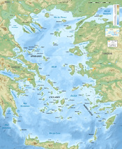English: Bathymetric map in French of the Aegean Sea, Mediterranean Sea. Français : Carte bathymétrique en français de la Mer Égée, Mer Méditerranée. UTM projection; WGS84 datum ; shaded relief Scales: *Topography: 1:608,000 (precision 152 m) *Bathymetry:
