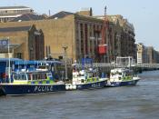 English: Police boats moored up at Wapping marine police station.