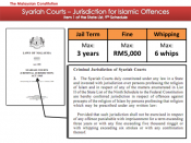English: A slide showing the jurisdiction of the Malaysian State Syariah Courts for Islamic offences