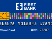 English: Sample ATM card which can be distinguished from a credit card or debit card by the absence of such features as network logotype on the front. Created by Sergio Ortega on April 16, 2008, based on existing standards.