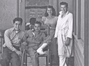 English: Rita Hayworth visiting Frank Gritts' hospital ward during WWII
