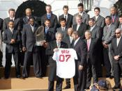 The Boston Red Sox of Major League Baseball (United States) are honored by President George W. Bush following the side's winning the 2007 World Series.