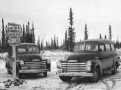 English: U.S. Fish and Wildlife Service Patrol Vehicles at Tok Cut-off on Alaska Highway. Tok Junction, Alaska. FWS keywords: ARLIS; Alaska U.S. Fish and Wildlife Service Source FWS-6668 Rights Public domain