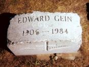 Ed Gein's vandalized grave marker as it appeared in 1999