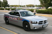 UIUC police cruiser in front of the Willard Airport terminal building.