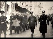 English: Jews are being forced to walk with the star of David during the Kristallnacht in Nazi-Germany in the night of 9-10 november 1938