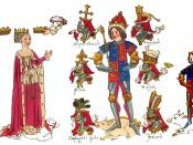 English: King Richard III and his family in the contemporary Rous Roll in the Heralds' College. Left to right: Anne Neville, Queen of King Richard 3rd; King Richard 3rd; Edward, Prince of Wales, their son.