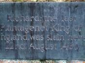 English: Memorial plaque to King Richard III; near to Shenton, Leicestershire, Great Britain