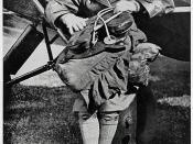 Nancy Bird 1933 on wheel of Metal Moth VH-VOP belonging to Tommy Petherbridge / by unknown photographer
