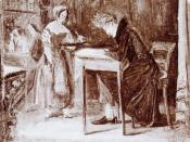 Kierkegaard in a coffee-house, an oil sketch by Christian Olavius, 1843