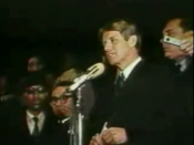 Kennedy giving his speech on Martin Luther King, Jr..