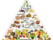 English: Healthy nutrition pyramid with 7 to 9 servings of fruits and vegetables to get precious phytonutrients to feed your body at the cellular level.