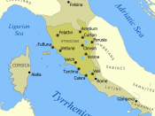 English: A map showing the extent of Etruria and the Etruscan civilization. The map includes the 12 cities of the Etruscan League and notable cities founded by the Etruscans. The dates on the map are an approximation based on the sources I had. If the art