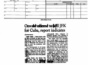 Criminal inteligence report (FBI) with a newspaper clipping from the Dallas Morning News reporting Oswald´s contacted Cuban Embassy in Mexico City about two months before the assassination of JFK.