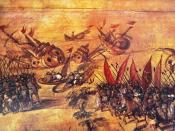 English: Image attributed to Miguel Gonzalez of Hernan Cortes scuttling his fleet off the Veracruz coast. On display at the Naval History Museum in Mexico City
