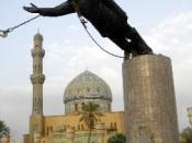 Statue of Saddam Hussein being toppled in Firdos Square after the US invasion of Iraq. Found on the US military website. CAPTION:The statue of topples in Baghdad's Firdos Square on April 9, 2003. Three years later, Iraqi forces increasingly are taking the