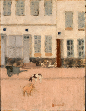 Two Dogs in a Deserted Street, oil on canvas painting by Pierre Bonnard, (1867-1947)