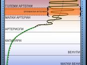 The diagram indicates the relationship between blood pressure, blood viscosity and vessel diameter. It relates to the Bulgarian articles of Blood pressure and Korotkoff sounds.
