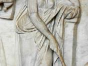 "Urania, muse of astronomy, ponting to a globe with a stick. Detail from the ""Muses Sarcophagus"", representing the nine Muses and their attributes. Marble, first half of the 2nd century AD, found by the Via Ostiense."