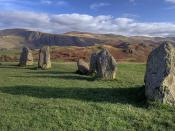 English: Ancient stones. Castlerigg Stone Circle was probably constructed around 3200 BC (Late Neolithic or Early Bronze Age), making it one of the earliest stone circles in Britain.