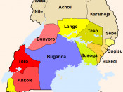 The administrative divisions of the British Protectorate of Uganda, including five of today's six kingdoms.