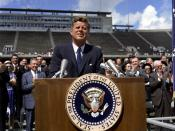 English: President John F. Kennedy speaks on the nation's space effort, , Houston, Texas, September 12, 1962.