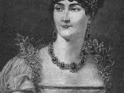 English: Empress Josephine. Prominent in Parisian social circles during the 1790s, she married the young General Napoleon Bonaparte. The relationship never blossomed and the couple divorced in 1809 despite Josephine's popularity as empress.