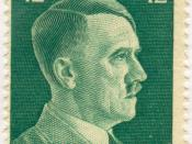 Stamp of the Greater German Reich, depicting Adolf Hitler as the Führer of the Reich. The stamp's value is 42 Pfennig. Deutsch: Die Briefmarke des Grossdeutschen Reiches.