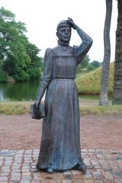 Jonas Högström´s statue of Swedish author Selma Lagerlöf, Nordkap, Landskrona. Sweden