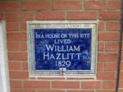English: Plaque in Bouverie Street, London, commemorating the writer William Hazlitt.