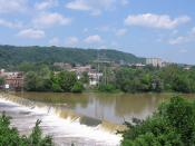English: Beaver Falls, , , seen from the borough of New Brighton.