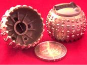 IBM Selectric globe samples (plus two Euro coin to compare size)
