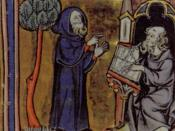 Merlin dictating his prophecies to his scribe, Blaise; French 13th century minature from Robert de Boron's Merlin en prose (written ca 1200). (Manuscript illustration, c.1300.) Arthur Cotterell, The Encyclopedia of Mythology, Lorenz Books/Anness Publishin