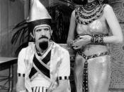 Photo of Sonny and Cher from The Sonny and Cher Show. Sonny plays an Egyptian pharaoh and Cher plays his queen in an