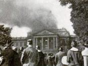English: Photograph of the Bascom Hall Fire at the University of Wisconsin in 1916