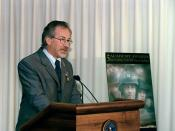 Director Stephen Spielberg speaking at the Pentagon on August 11, 1999.