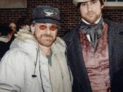Director Steven Spielberg and Eric Bruno Borgman on the set of Amistad.