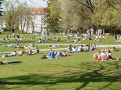 Students on the James Madison University quad