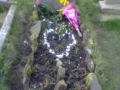 Sylvia Plath's grave at Heptonstall church, West Yorkshire, England.